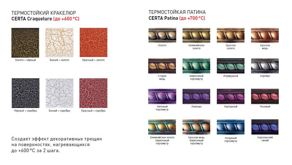 Кракелюр и патина термостойкая антикоррозионная краска эмаль Certa Церта для долговечной защиты металла Россия